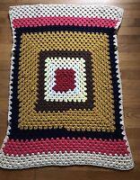 "Vintage Crochet Handmade Granny Afghan Lap Throw Baby Blanket 45""x34"""