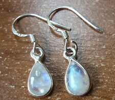 Very Tiny Blue Moonstone Earrings 925 Sterling Silver Dangle Corona Sun Jewelry