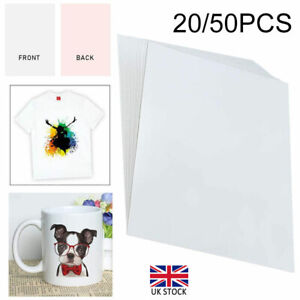 20/50x Heat Transfer Paper T-shirt A4 Iron On Press Light Cotton Inkjet Print