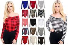 New Off Shoulder Womens Ladies Printed Bodysuit Bardot Leotard Long Sleeve Top