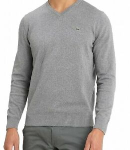 Lacoste Mens Sweater Navy Heather Gray Size 2XL Rib Trim V-Neck Pullover $98 058