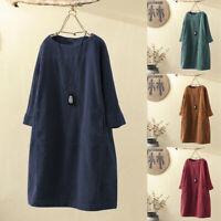 ZANZEA Women Vintage Corduroy Casual Midi Shirt Dress Long Sleeve Plain Tunic