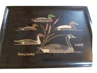 Vintage Ducks Unlimited By Larry Toschik Couroc Satin Black Serving Tray 18 X 12