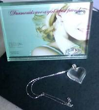 "LALIQUE CRYSTAL SMALL HEART NECKLACE & 9CT WHITE GOLD 18"" CHAIN - STUNNING"