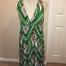 NWOT Donna Morgan Green Print Dress SzM EUC