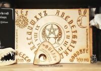 "Wooden Ouija Board & Planchette w/ Wiccan Symbols Engraved On Wood [11"" x 8""]"