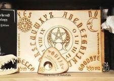 """Wooden Ouija Board & Planchette w/ Wiccan Symbols Engraved On Wood [11"""" x 8""""]"""