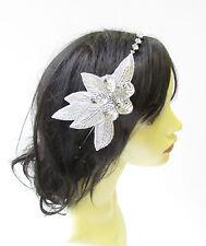 Silver Sequin Diamante Headpiece Headband Bridal Bridesmaid Hair Band Boho 2150