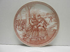 """THE SPODE BLUE ROOM COLLECTION """"Christmas Plate # 2 - Rose Pink on White 8.25"""""""