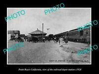 OLD LARGE HISTORIC PHOTO OF POINT REYES CALIFORNIA, THE RAILROAD DEPOT c1920