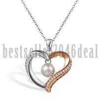 Herz Zirkonia Süßwasser Perle Love Anhänger 925 Sterling Silber Halskette