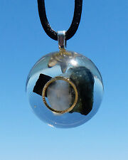 Tourmaline and Moonstone Positive Energy Orgone Dome Pendant with Silver Ring.