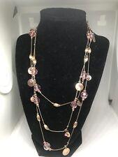 Jennifer Lopez JLO Rose Beads Rhinestones Gold Bangles On A 58-61 inch Necklace
