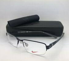 New NIKE Eyeglasses 6051 009 52-15 145 Semi Rimless Black & Grey Titanium Frame