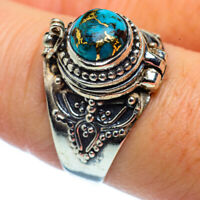 Blue Copper Turquoise 925 Sterling Silver Poison Ring Size 8.5 Jewelry R36990F