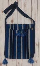 Mexican crossbody bag Blue Aqua and Black  with tassels Aqua Aztec Triangles