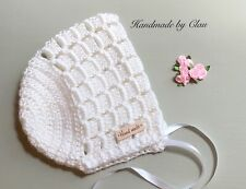 Handmade Crochet Bonnet- baby Bonnet  hat  0-3 months white Beanie Cap girl boy