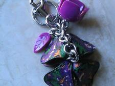 ~Coach Keychain Floral Resin PVC KEY Charms Multi Mix Purple Tea Rose..NWT!!~