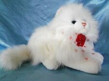 "Small 10"" plush stuffed CalToy Persian white kitty cat Roses Collar"