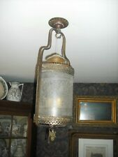 Victorian etched glass/brass hanging converted gas lamp/chandelier