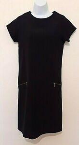 Next Woman's Black Shift Dress With Zip Pockets - Size 6 uk - 34 eu -Work/Casual