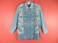 TB04238- DIANE GILMAN Woman 100% Silk Blouse Beaded Front Teal Blues Floral Sz L