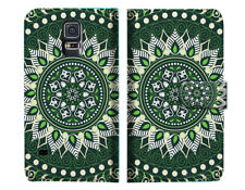 Green AZTEC TRIBAL Wallet Case Cover For Samsung Galaxy S5 - A002
