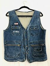 Vintage 1980's Kennex Tennis Japanese Denim Vest Mens XL Blue