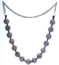 BIGIOTTERIA - Collana  con perle nero-grigio trasparenti - in plastica