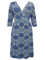 Captive Curve BLUE Kaleidoscope Print 3/4 Sleeve Shift Dress Sizes 14 - 32