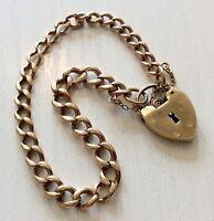 Lovely Ladies Early Vintage Stamped Solid 9ct Gold Padlock Bracelet Nice