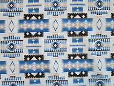 Navajo Indian Blue Tans Black Overall Print Cotton Fabric BTHY