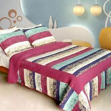 3 Pc Secret Season turquoise red purple 100%Cotton Vermicelli Queen Quilt Shams