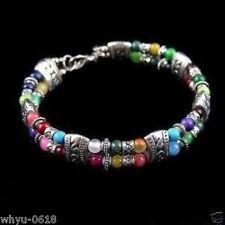 Tibet silver multicolor jade turquoise bead bracelet
