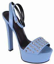 NEW Gucci Women's Blue Leather Studded Leila Platform Sandals Shoes 38.5 8.5