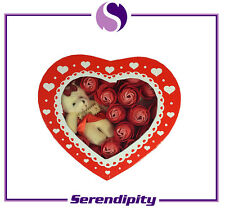 Valentine's Day Gift - Gift Box with Artificial Flower and Toy Bear - Red