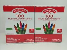 Lot of Two - Holiday Time Christmas Lights Multi Mini 100 Green Wire