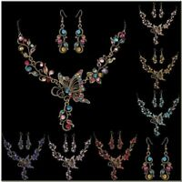 Charming Retro Crystal Butterfly Women wedding Necklace Earrings Jewelry Set New