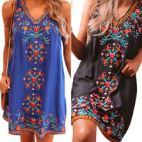 Womens Boho Retro Floral V Neck Mini Kaftan Dress Loose Sleeveless Vest Sundress