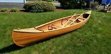 Beautiful Custom Built 16' Wood Strip Canoe  MUST SEE!