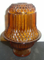 VINTAGE INDIANA AMBER GLASS FAIRY LAMP LIGHT DIAMOND POINT CANDLE HOLDER 6.5""