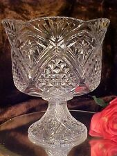 BIG DEEP Footed Glass Bowl BEAUTY GREAT Centerpiece or SERV DIAMOND PATTERN NIB!