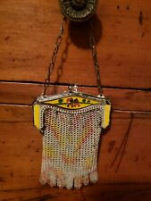 Mickey Mouse & Minnie Whiting Davis Mesh Enameled Kid's Purse Yellow 1930s