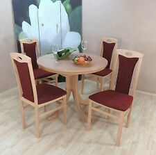 Essgruppe 5-tlg. Auszugtisch rund Stühle Esstisch Farbe: Buche Natur/Bordeauxrot