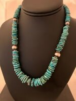 Native American Navajo Graduated Blue Turquoise Sterling Silver Necklace 4663