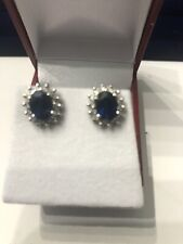 14kt Blue Sapphire With Diamond stud  Earring