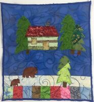 """Cabin In The Woods Mini Quilt 8""""X9"""" Applique & Pieced Bears Pine Tress Handmade"""