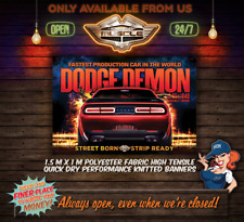 DODGE DEMON STREET BORN STRIP READY 1.5M X 1M FABRIC BANNER TO HANG IN GARAGE