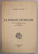 Anonimo Genovese LE POESIE STORICHE Nicolas Costamagna 1983 A Compagna