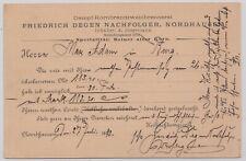 "29963) NORDHAUSEN 1893 Firmen-Postkarte Freidrich Degen ""Alter Korn"""